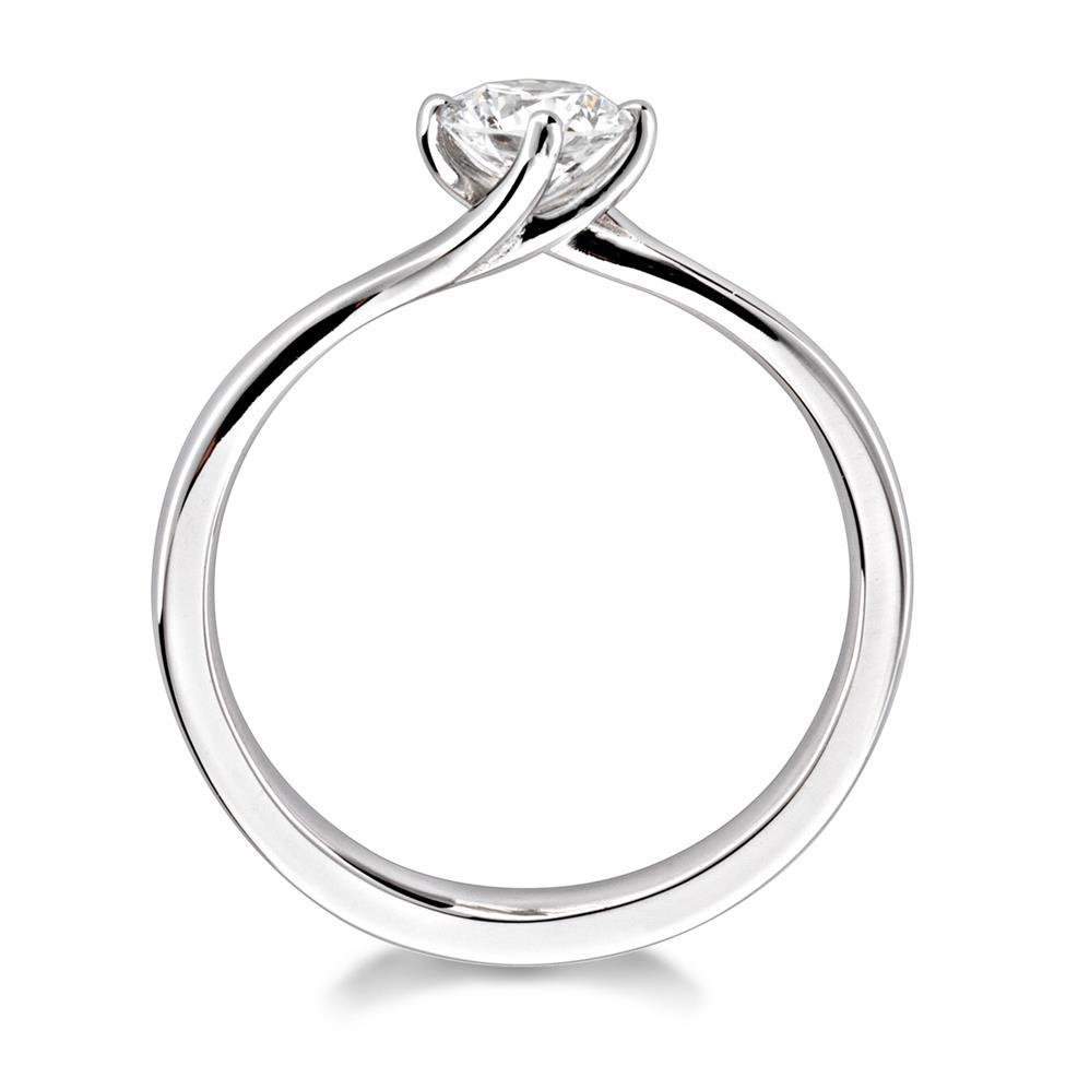 Platinum Twist Design Diamond Solitaire Engagement Ring 0.50ct Thumbnail Image 3