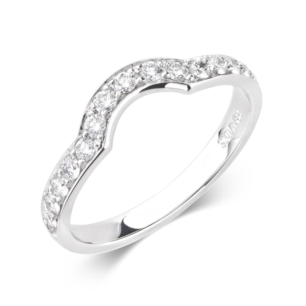 Platinum Channel Set Diamond Shaped Wedding Ring Image 1