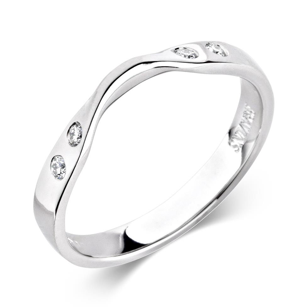 Platinum Rubover Diamond Shaped Wedding Ring Image 1