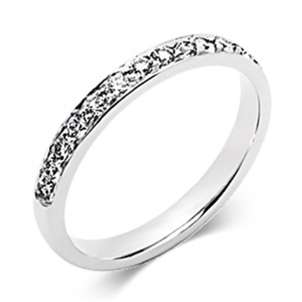 Platinum Brilliant Cut Diamond Half Channel Ring Thumbnail Image 0