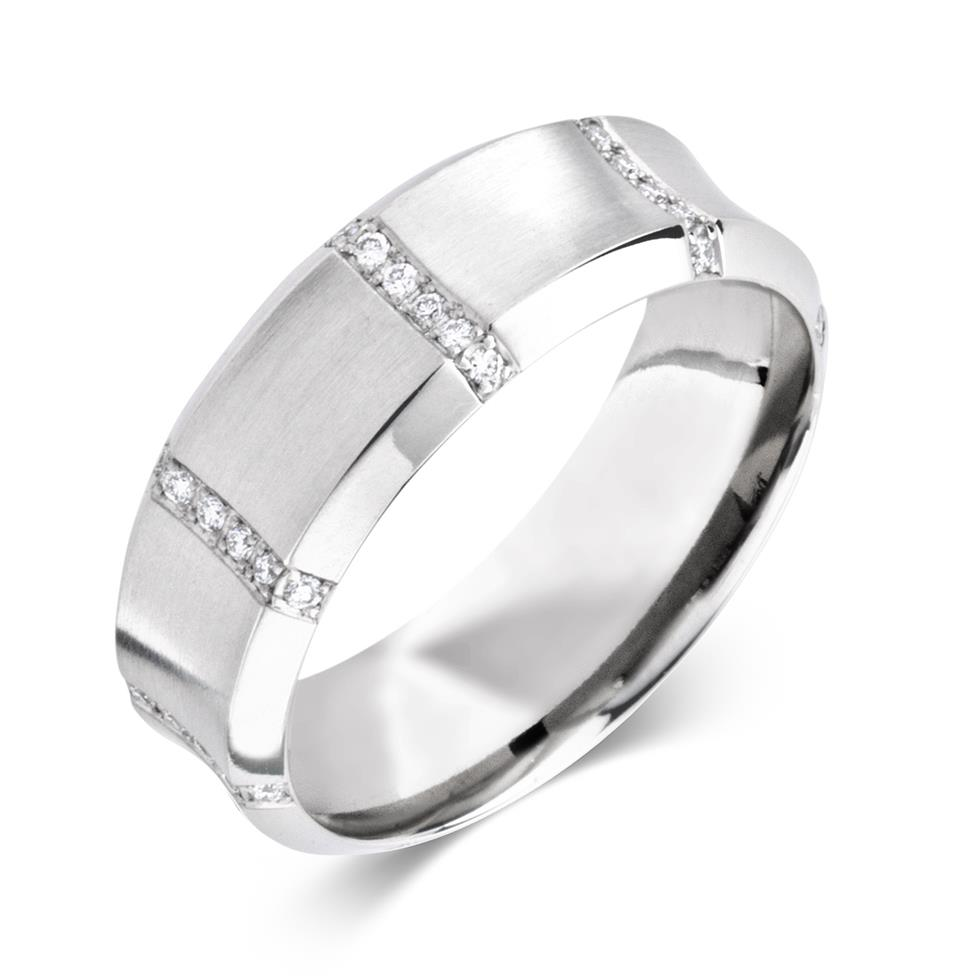 Platinum Contemporary Concave Diamond Ring Thumbnail Image 0