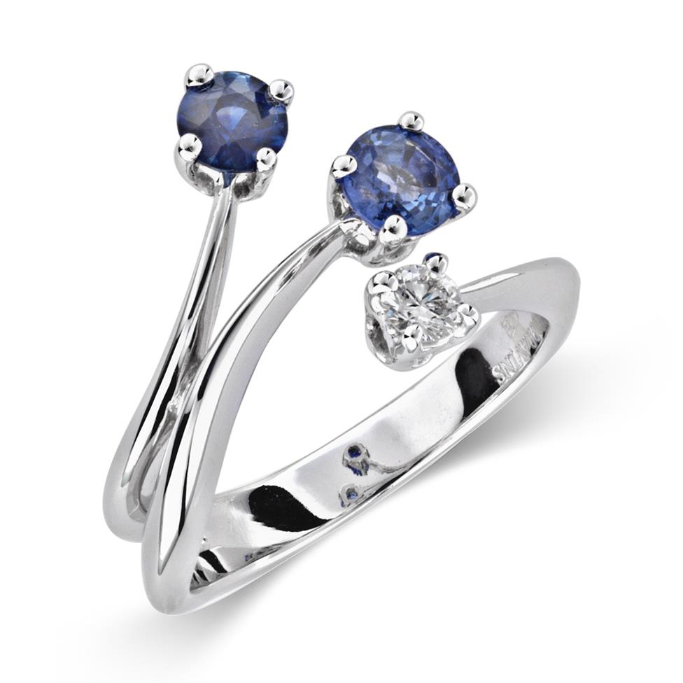 Carnival 18ct White Gold Two Sapphire and Diamond Ring Image 1
