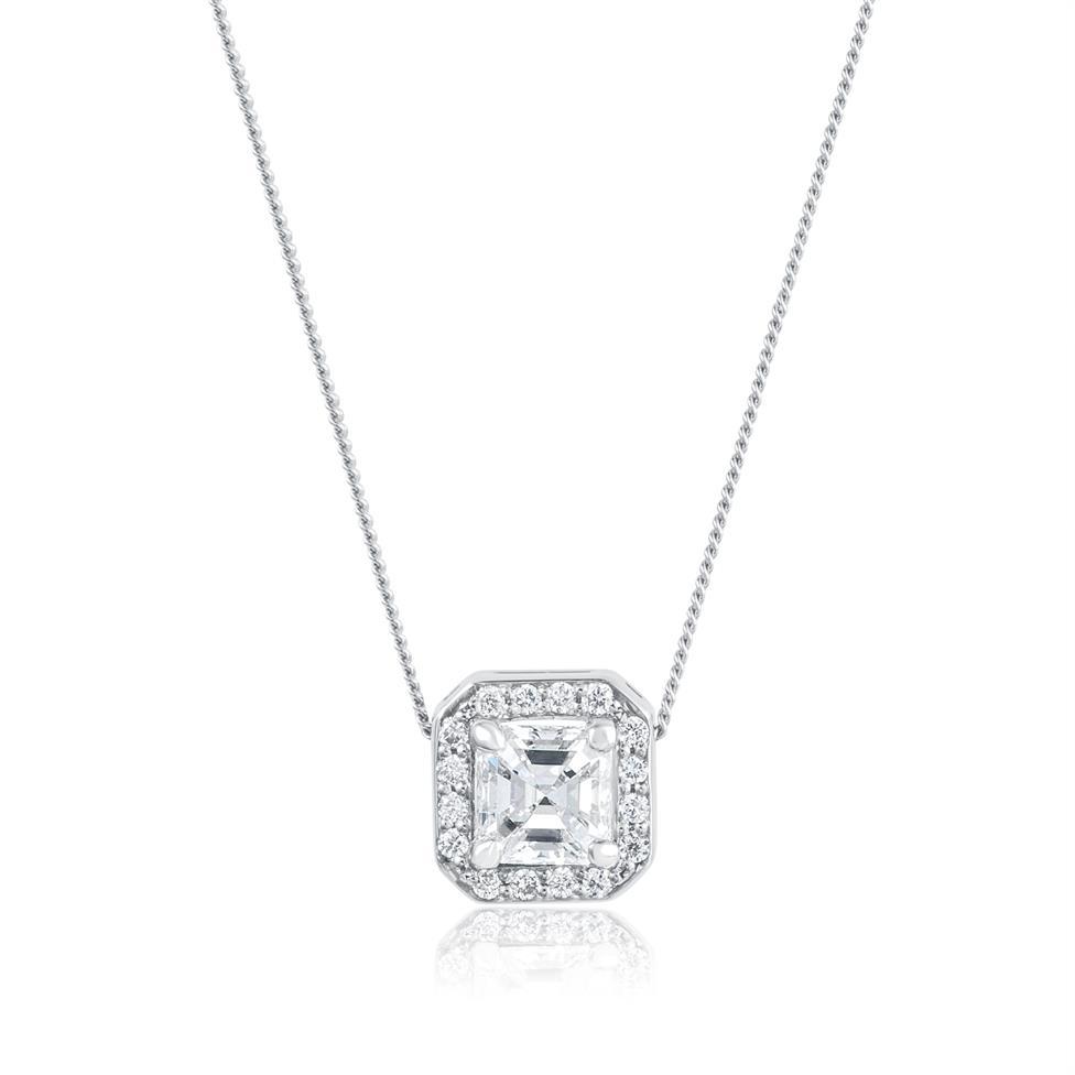 18ct White Gold Asscher Cut Diamond Necklace 0.35ct Thumbnail Image 0