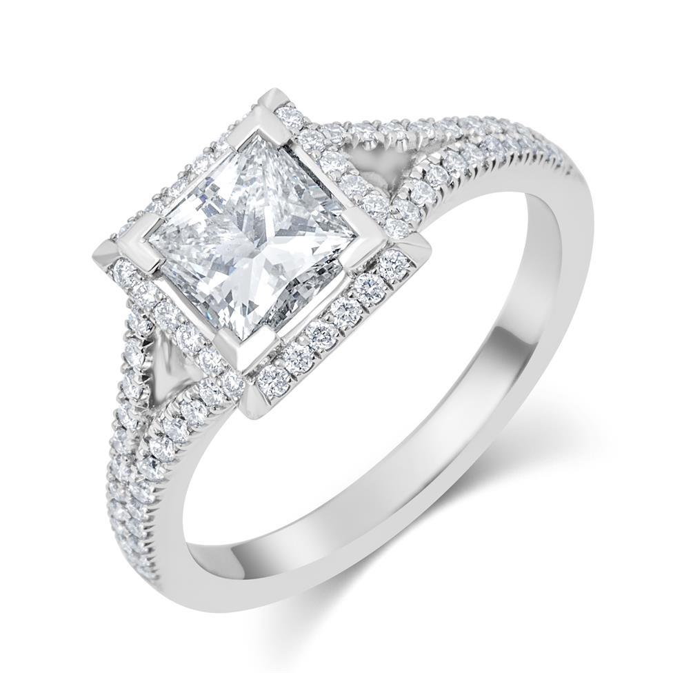 Platinum Split Shoulder Detail Princess Cut Diamond Halo Engagement Ring 1.65ct Thumbnail Image 0