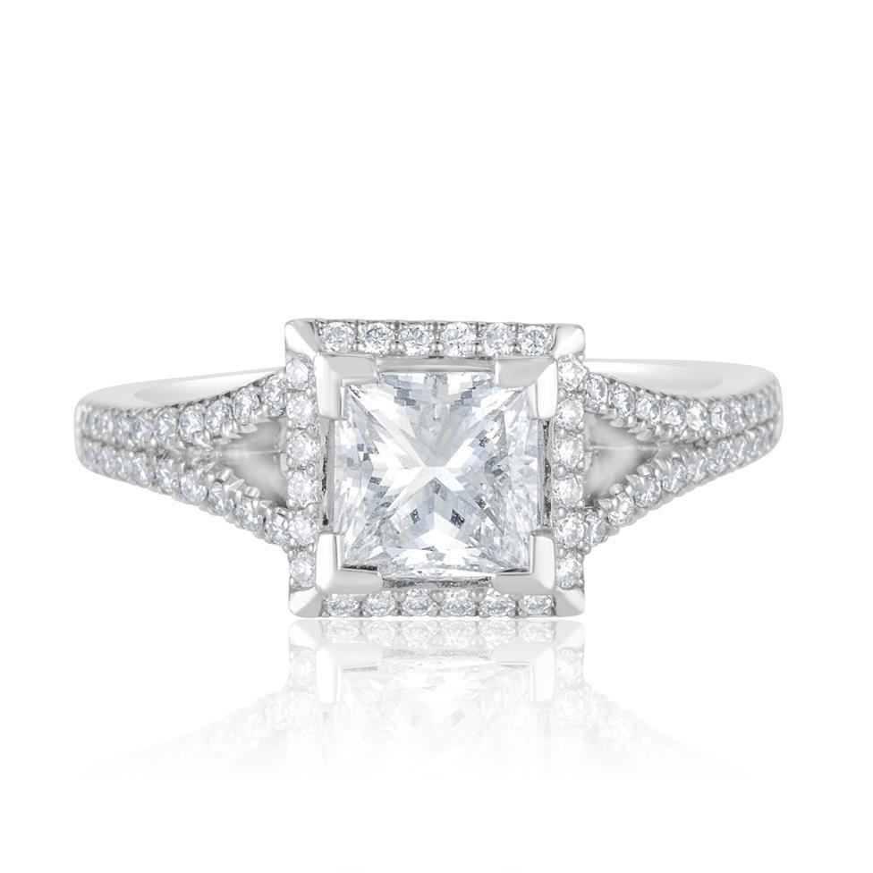 Platinum Split Shoulder Detail Princess Cut Diamond Halo Engagement Ring 1.65ct Thumbnail Image 1