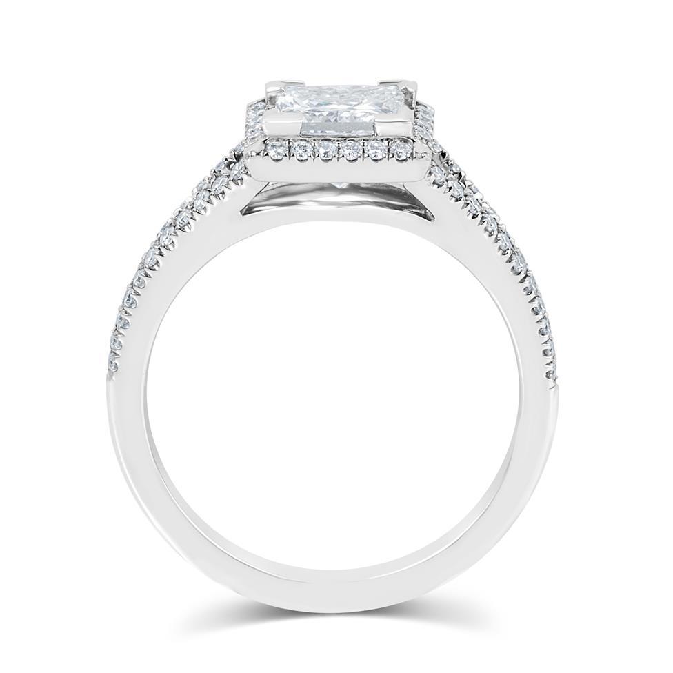 Platinum Split Shoulder Detail Princess Cut Diamond Halo Engagement Ring 1.65ct Thumbnail Image 2