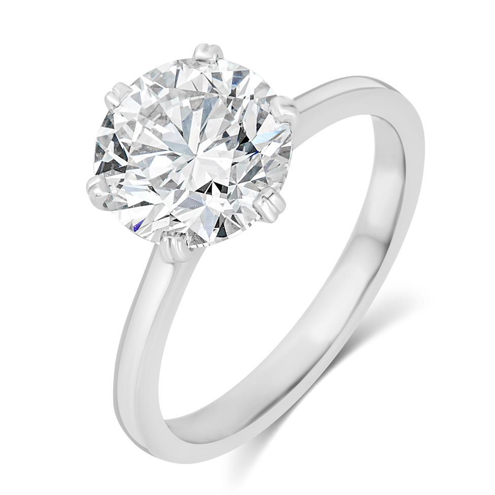 Platinum Diamond Solitaire Engagement Ring 3.03ct Thumbnail Image 0