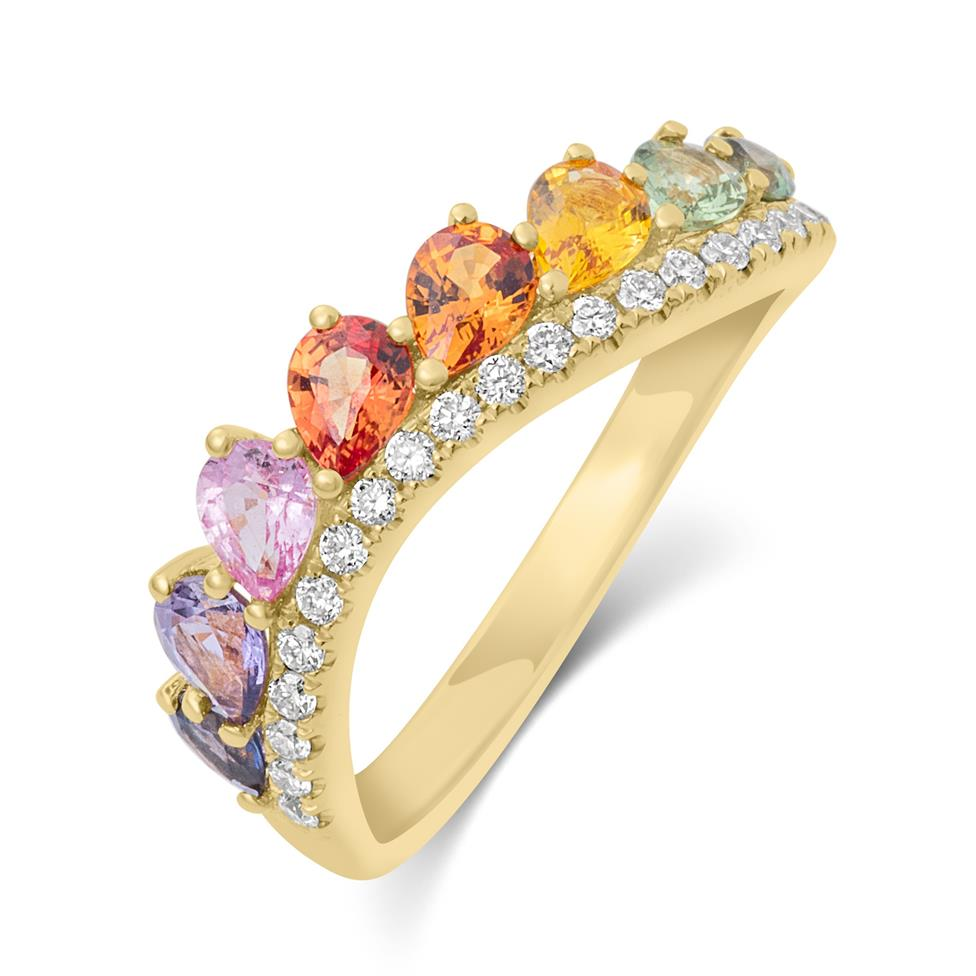 Samba 18ct Yellow Gold Rainbow Sapphire and Diamond Dress Ring Thumbnail Image 0