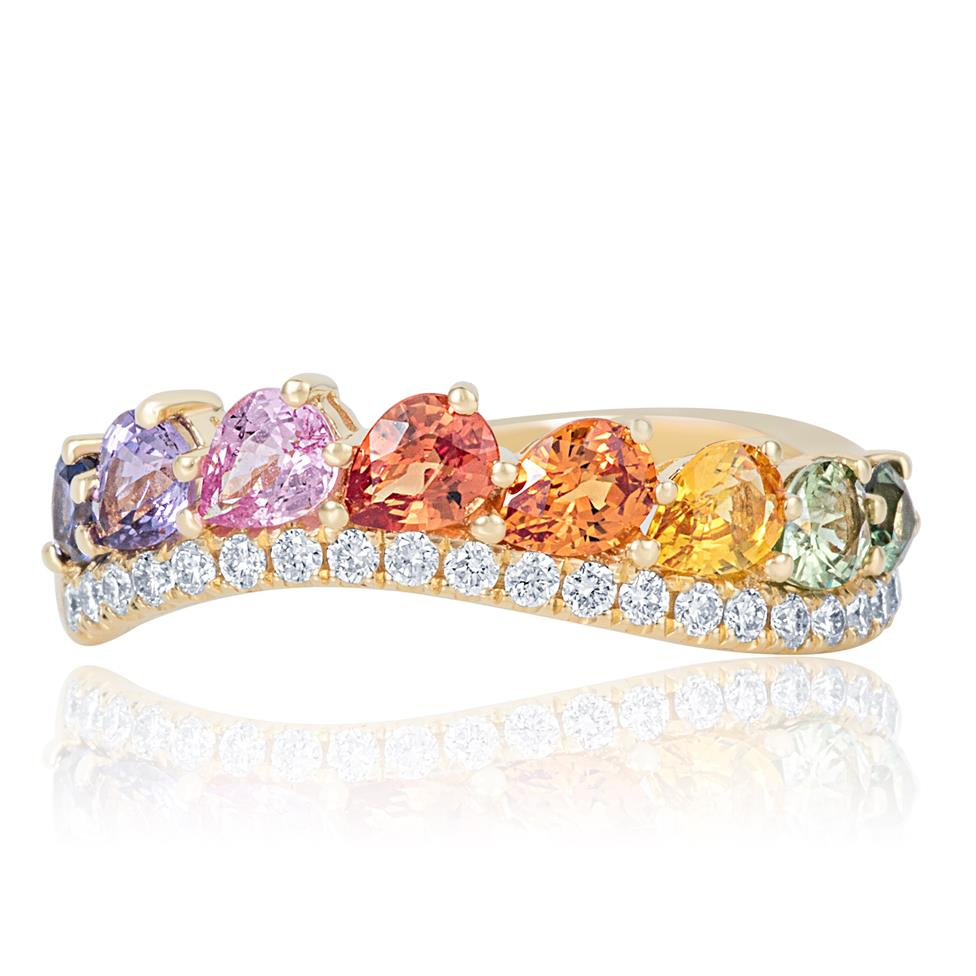 Samba 18ct Yellow Gold Rainbow Sapphire and Diamond Dress Ring Thumbnail Image 1
