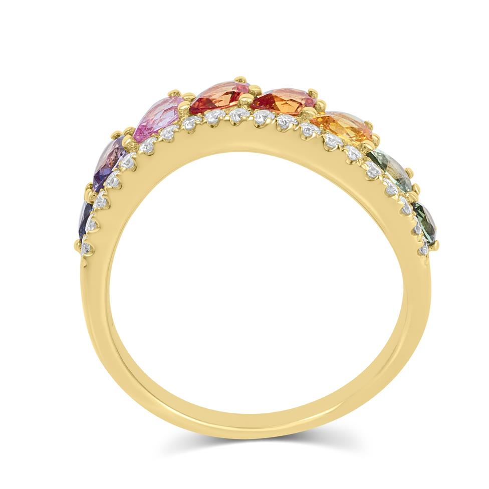 Samba 18ct Yellow Gold Rainbow Sapphire and Diamond Dress Ring Thumbnail Image 2