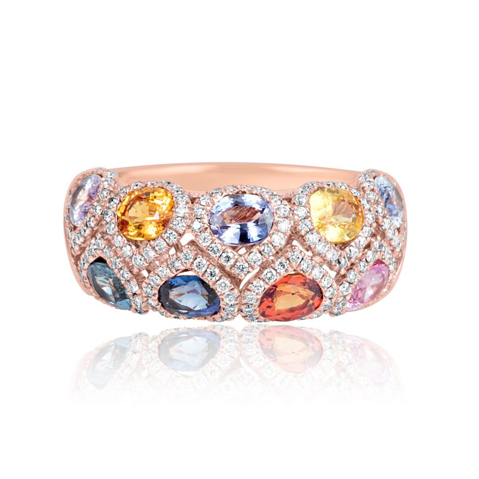 Samba 18ct Rose Gold Dome Design Rainbow Sapphire and Diamond Dress Ring Thumbnail Image 4