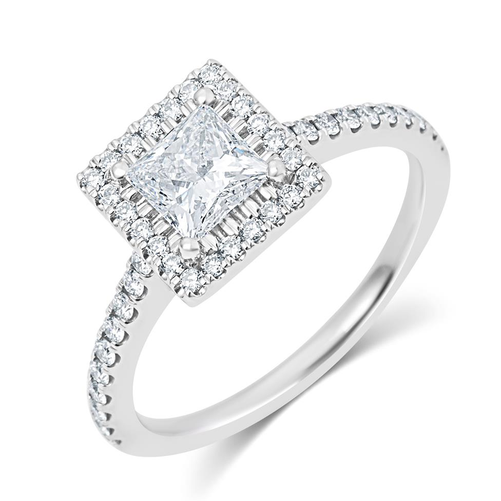 Platinum Princess Cut Diamond Halo Engagement Ring 1.10ct Thumbnail Image 0