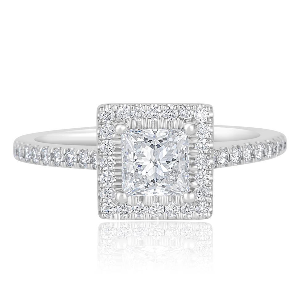 Platinum Princess Cut Diamond Halo Engagement Ring 1.10ct Thumbnail Image 1