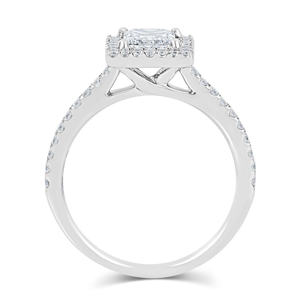 Platinum Princess Cut Diamond Halo Engagement Ring 1.10ct Thumbnail Image 2