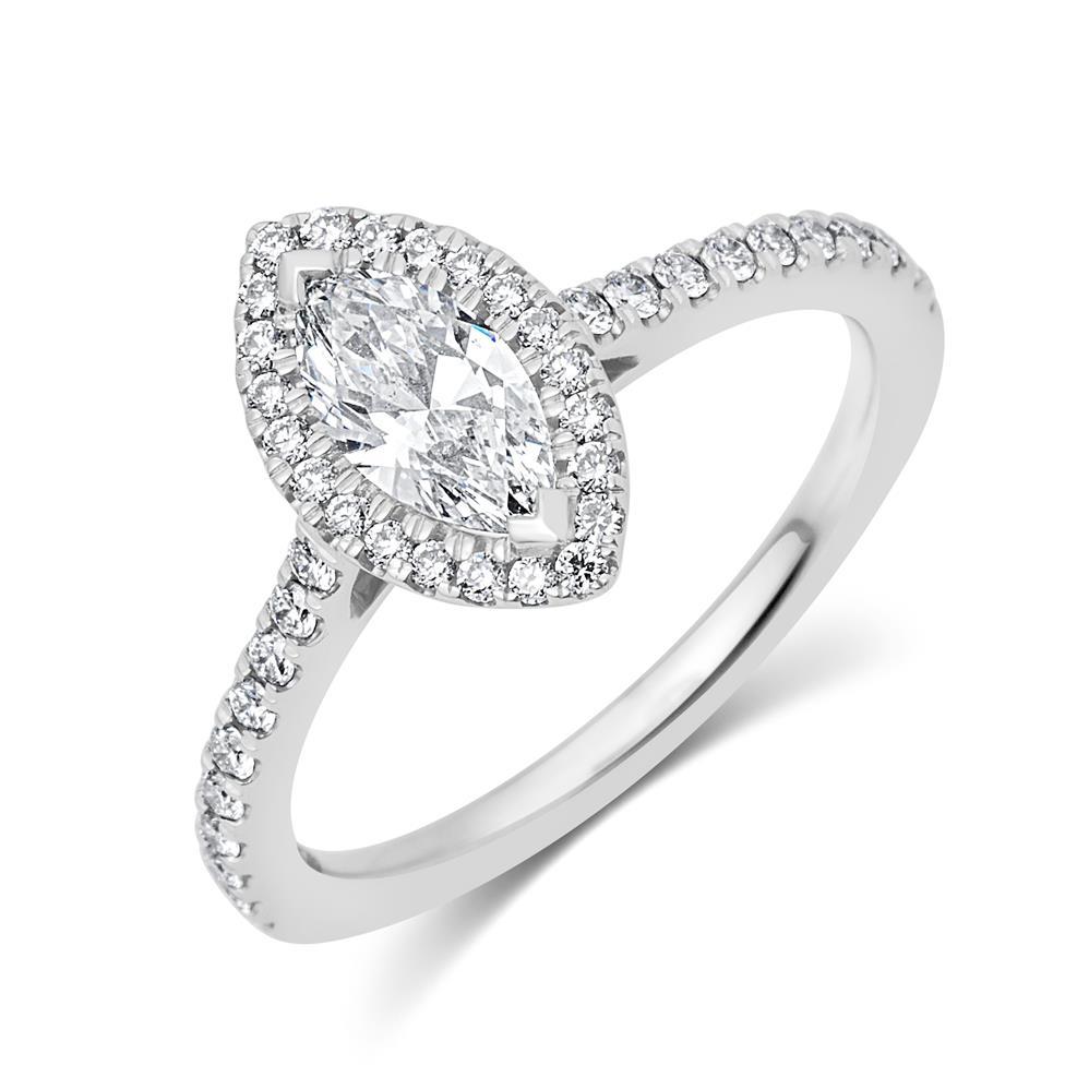 Platinum Marquise Cut Diamond Halo Engagement Ring 0.85ct Thumbnail Image 0