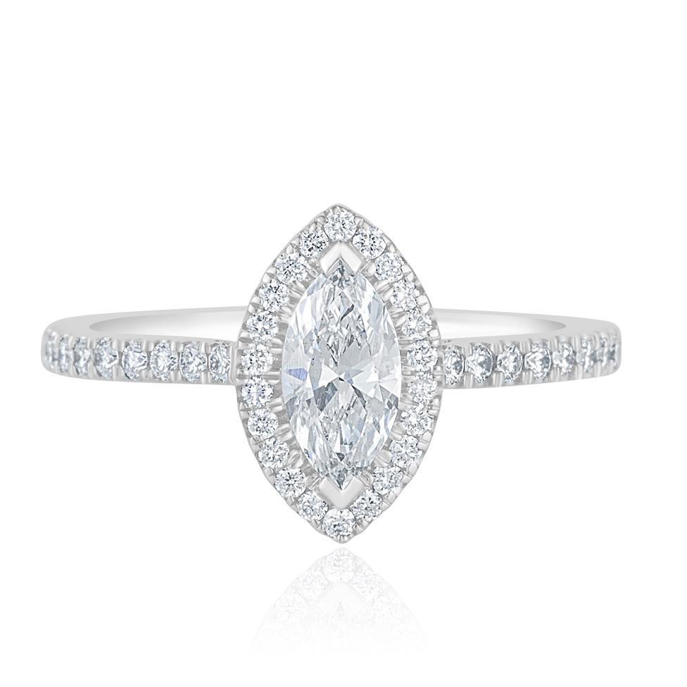 Platinum Marquise Cut Diamond Halo Engagement Ring 0.85ct Thumbnail Image 1