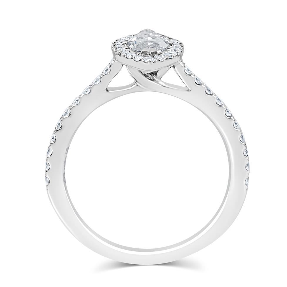 Platinum Marquise Cut Diamond Halo Engagement Ring 0.85ct Thumbnail Image 2