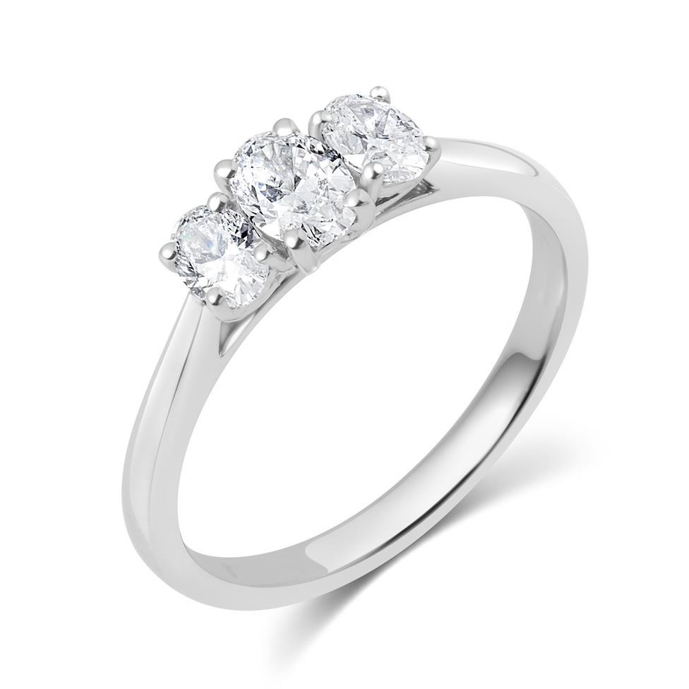 Platinum Oval Diamond Three Stone Engagement Ring 0.66ct Thumbnail Image 0