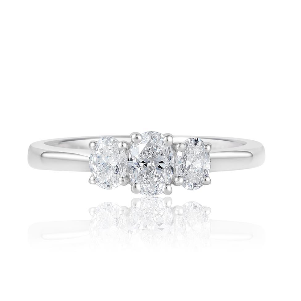Platinum Oval Diamond Three Stone Engagement Ring 0.66ct Thumbnail Image 1