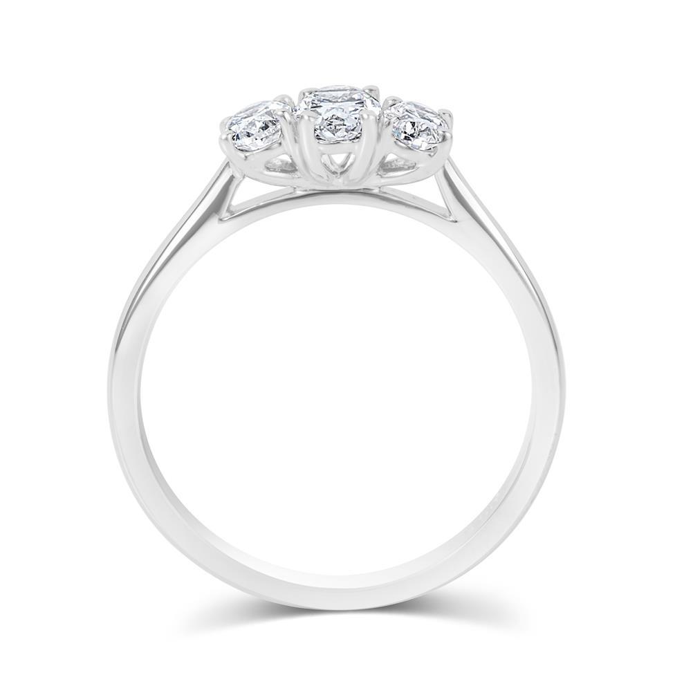 Platinum Oval Diamond Three Stone Engagement Ring 0.66ct Thumbnail Image 2