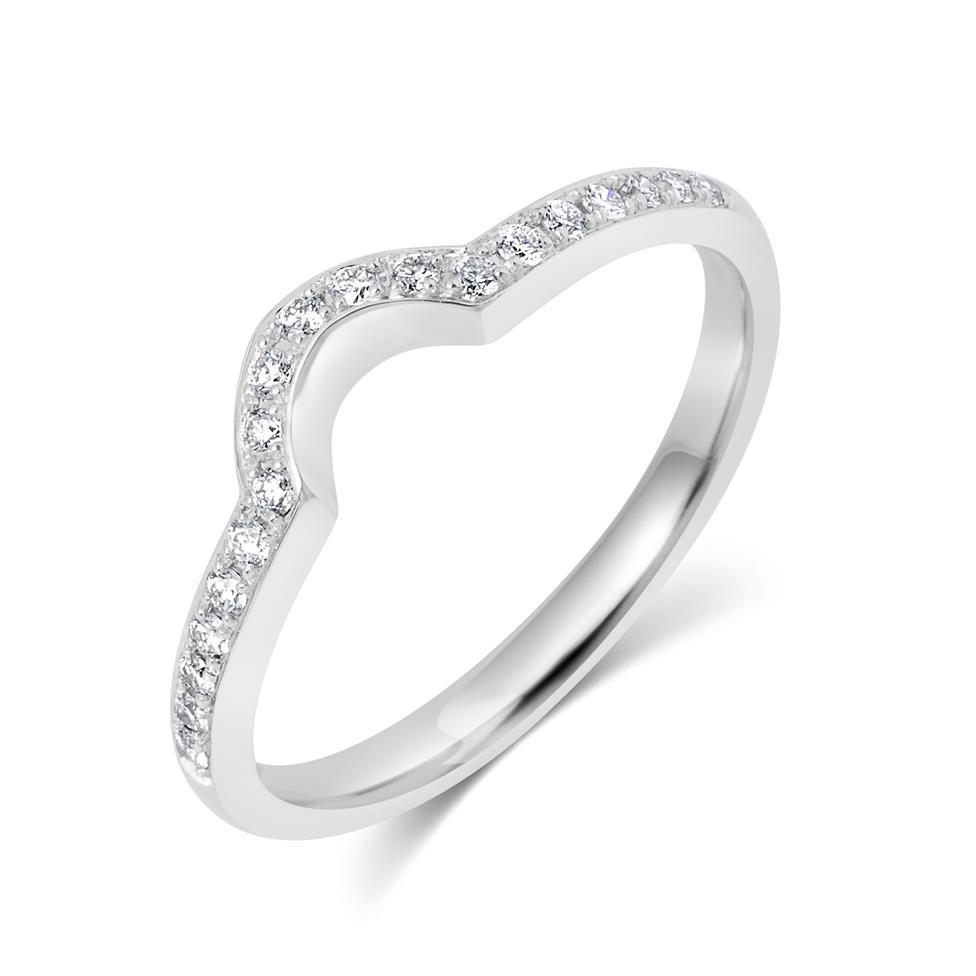 18ct White Gold Diamond Set Shaped Wedding Ring 0.18ct Thumbnail Image 0