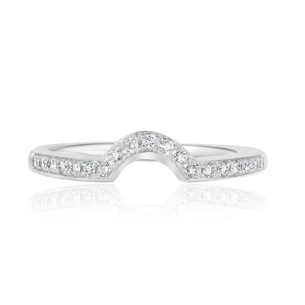 18ct White Gold Diamond Set Shaped Wedding Ring 0.18ct Thumbnail Image 1