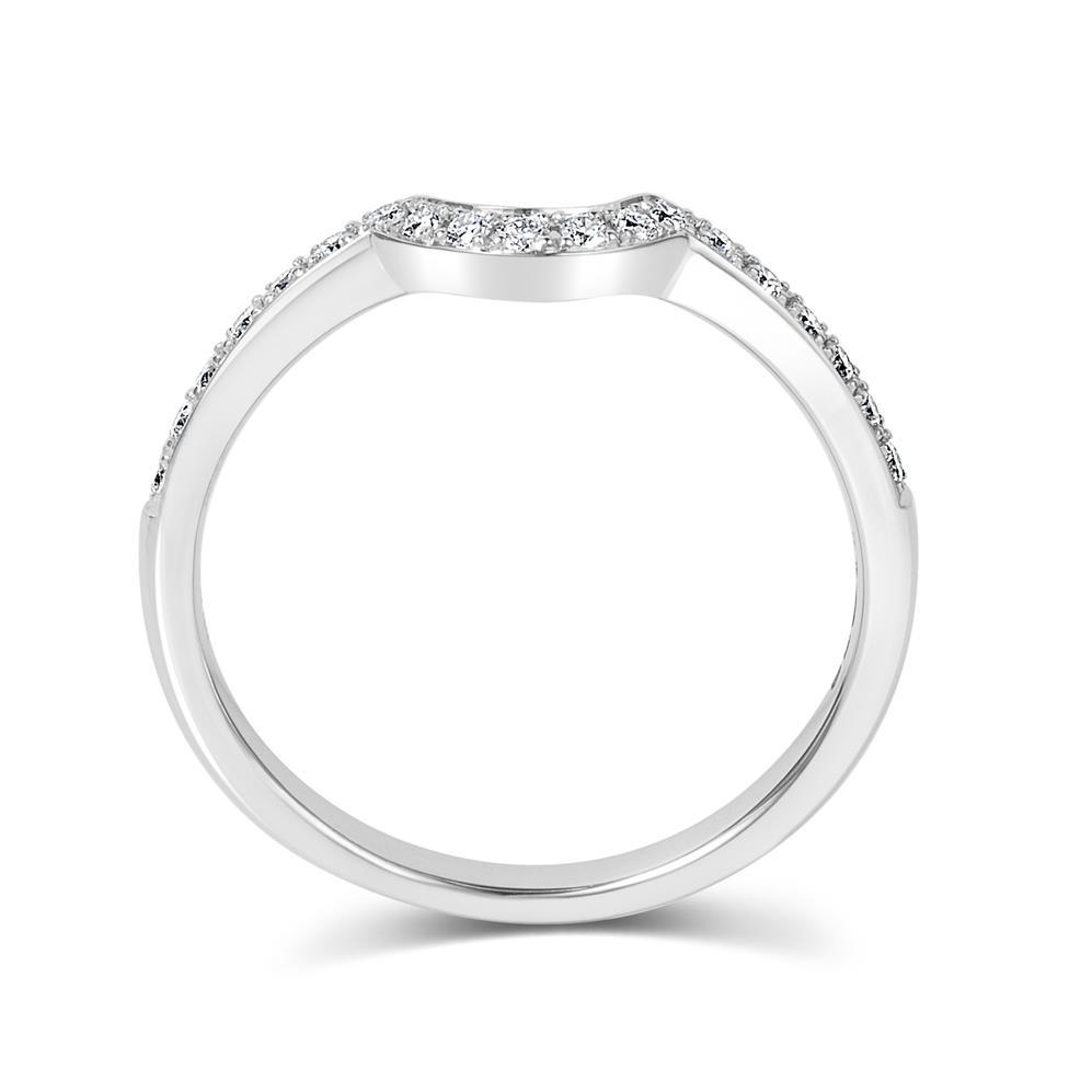 18ct White Gold Diamond Set Shaped Wedding Ring 0.18ct Thumbnail Image 2