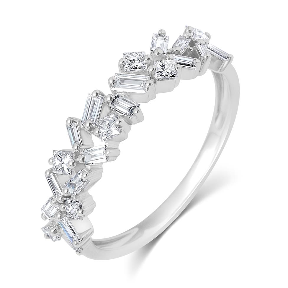 Stardust 18ct White Gold Baguette Cut and Round Diamond Dress Ring 0.57ct Thumbnail Image 0