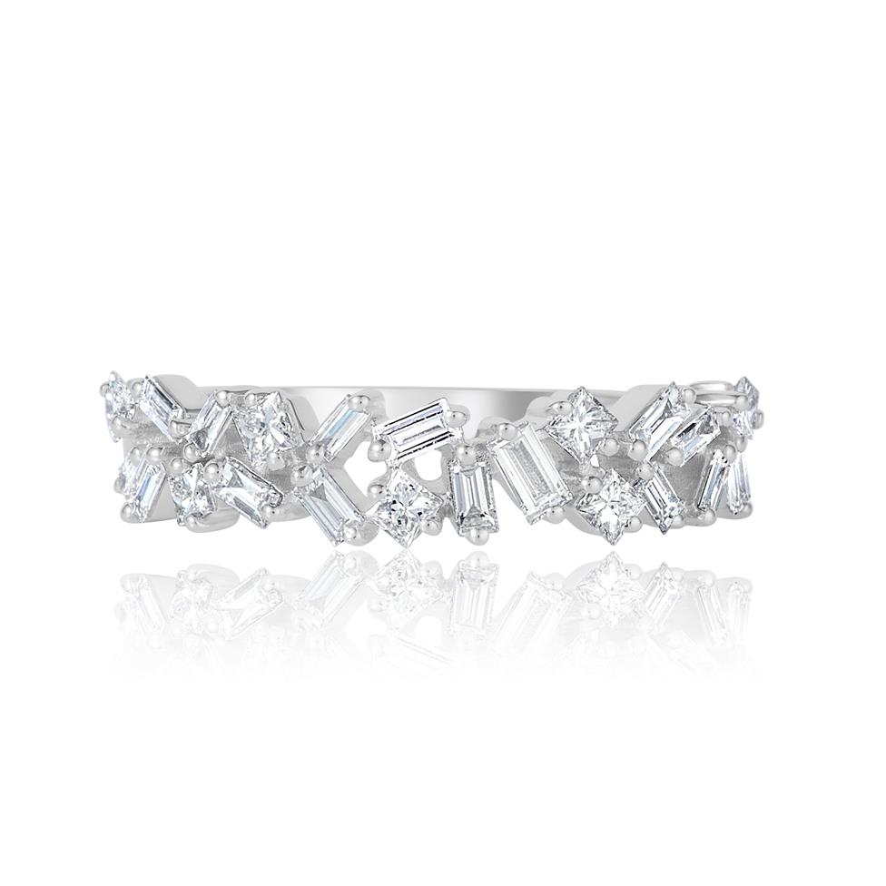 Stardust 18ct White Gold Baguette Cut and Round Diamond Dress Ring 0.57ct Thumbnail Image 1