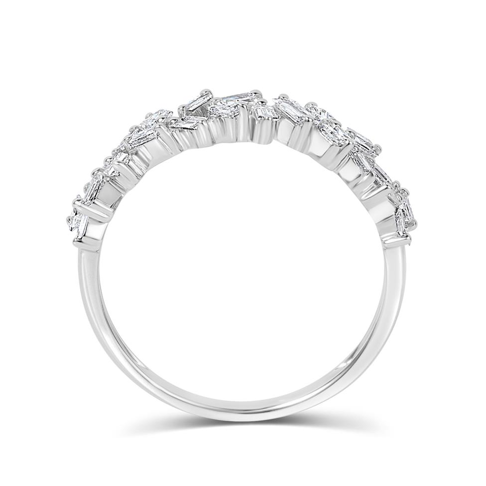 Stardust 18ct White Gold Baguette Cut and Round Diamond Dress Ring 0.57ct Thumbnail Image 2