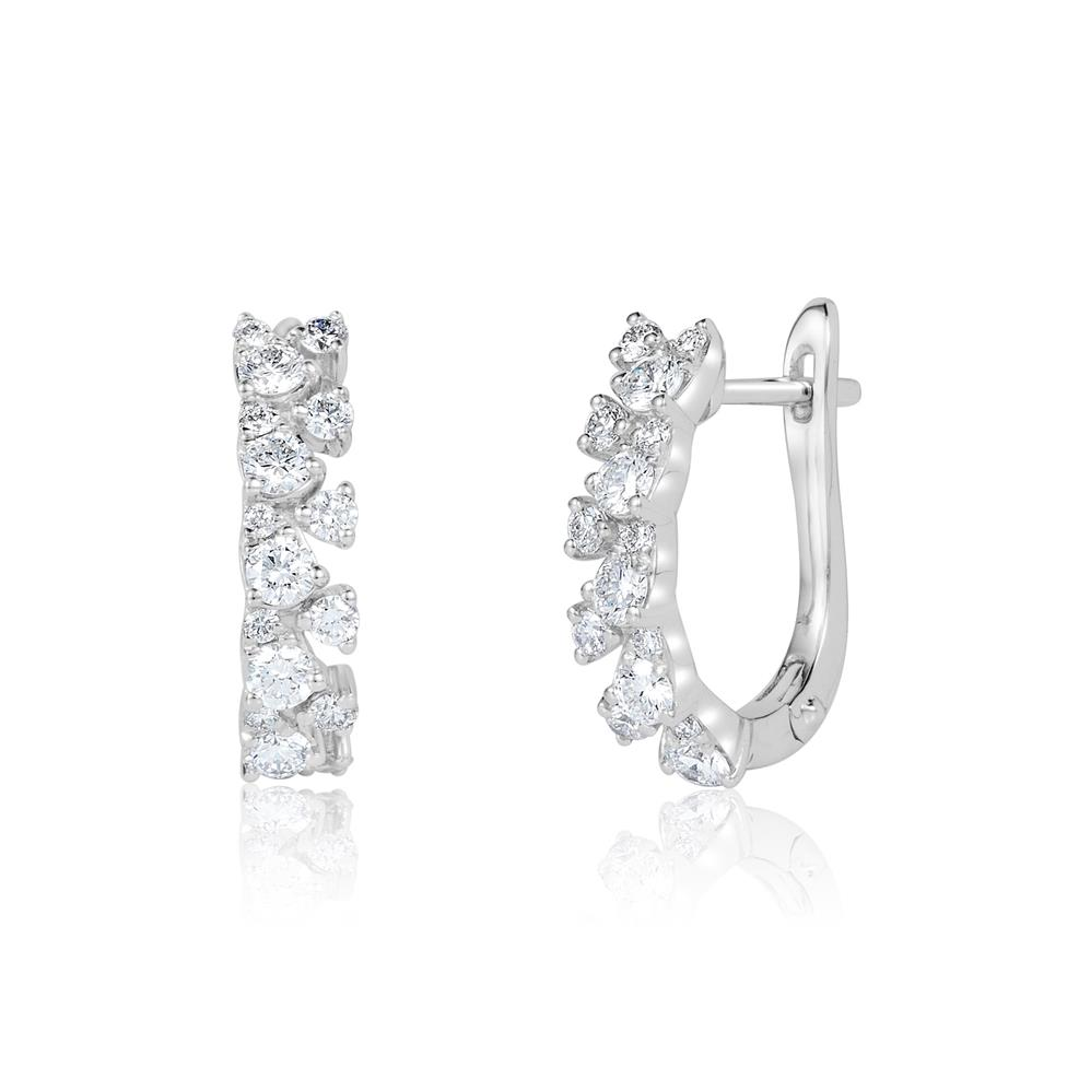 18ct White Gold Fine Petal Design Diamond Hoop Earrings 0.64ct Thumbnail Image 0