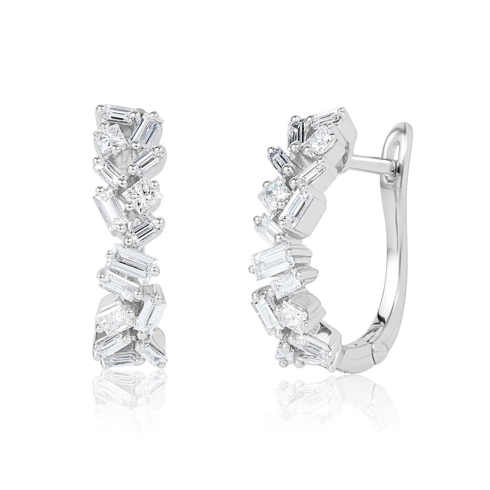 18ct White Gold Random Baguette Diamond Earrings Thumbnail Image 0