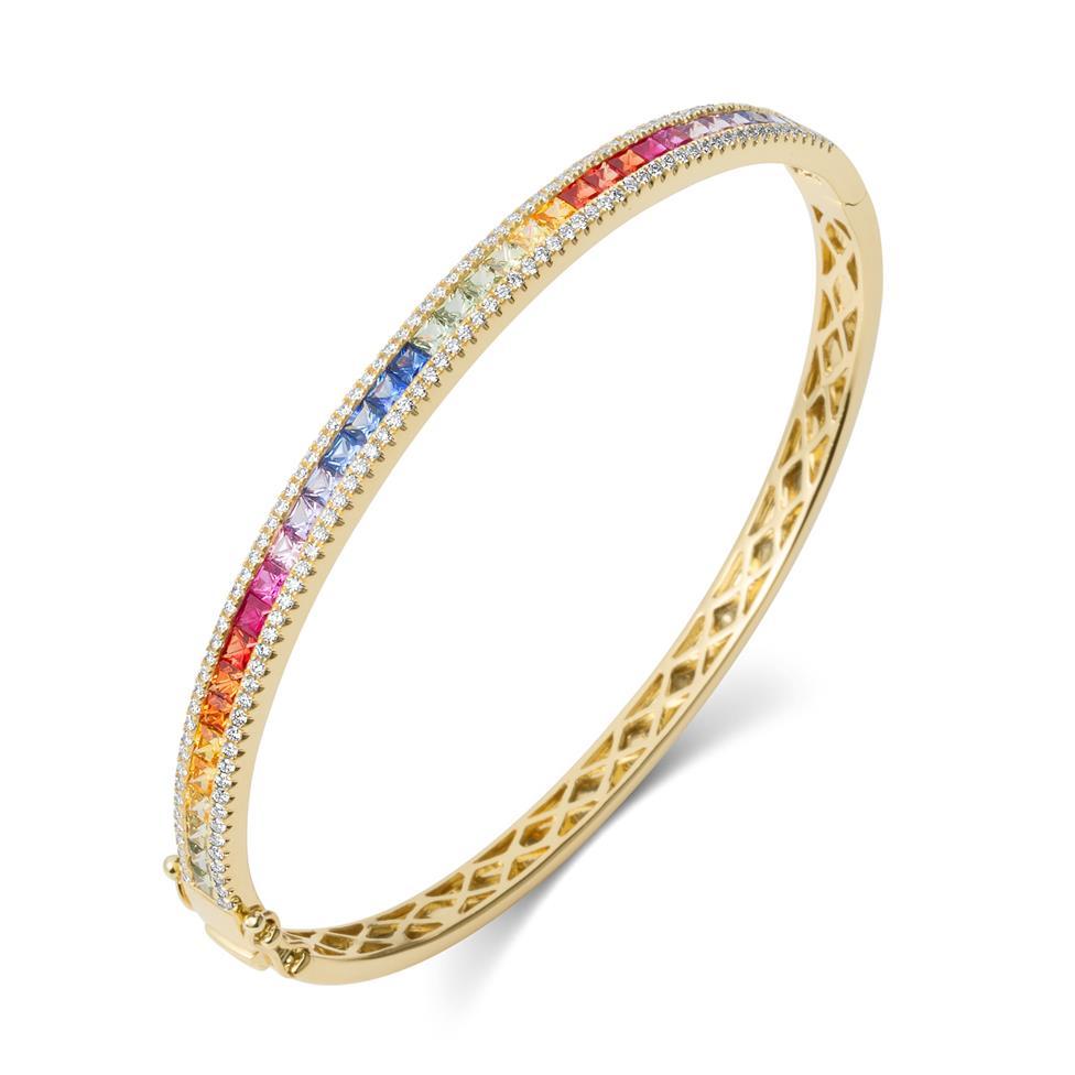 Samba 18ct Yellow Gold Rainbow Sapphire and Diamond Bangle Thumbnail Image 0