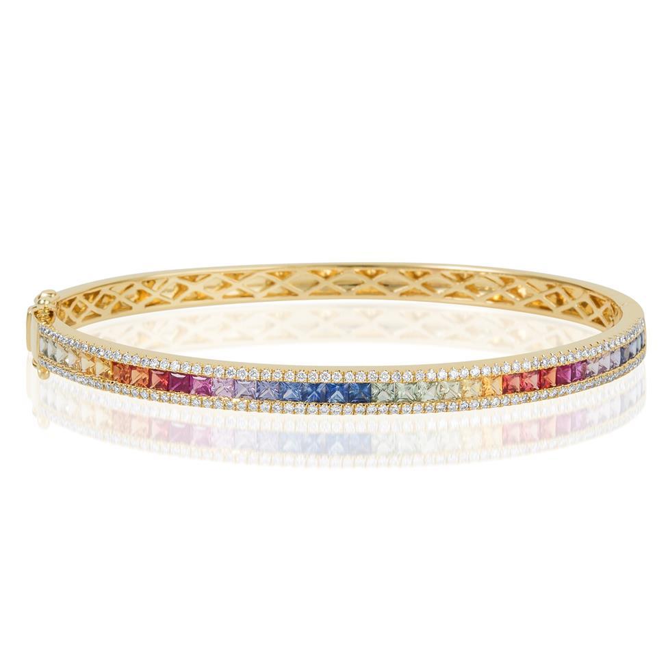Samba 18ct Yellow Gold Rainbow Sapphire and Diamond Bangle Thumbnail Image 2