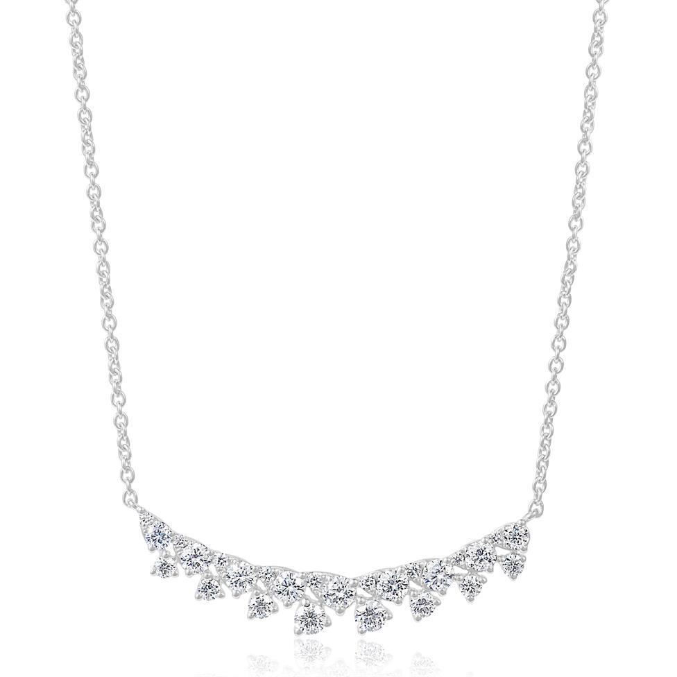 18ct White Gold Diamond Fine Petal Design Necklace Thumbnail Image 0