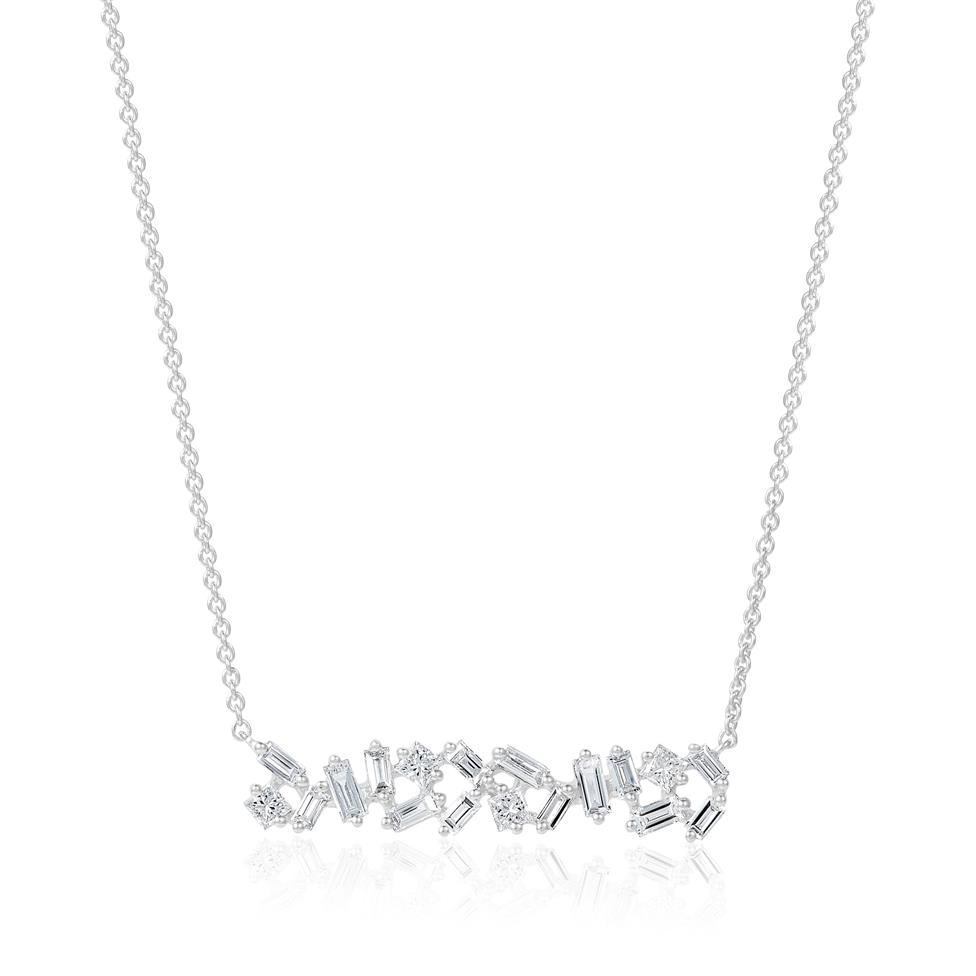 18ct White Gold Random Baguette Diamond Necklace Thumbnail Image 0