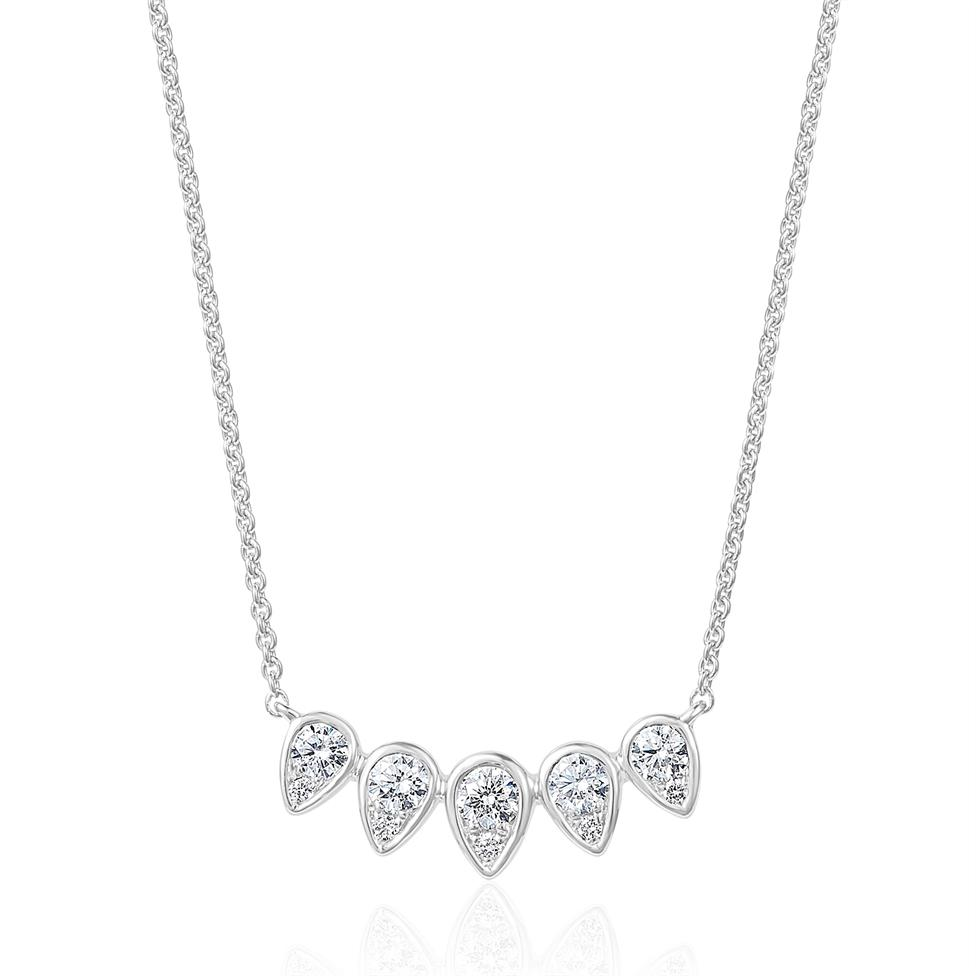 18ct White Gold Diamond Graduated Teardrop Necklace Thumbnail Image 0