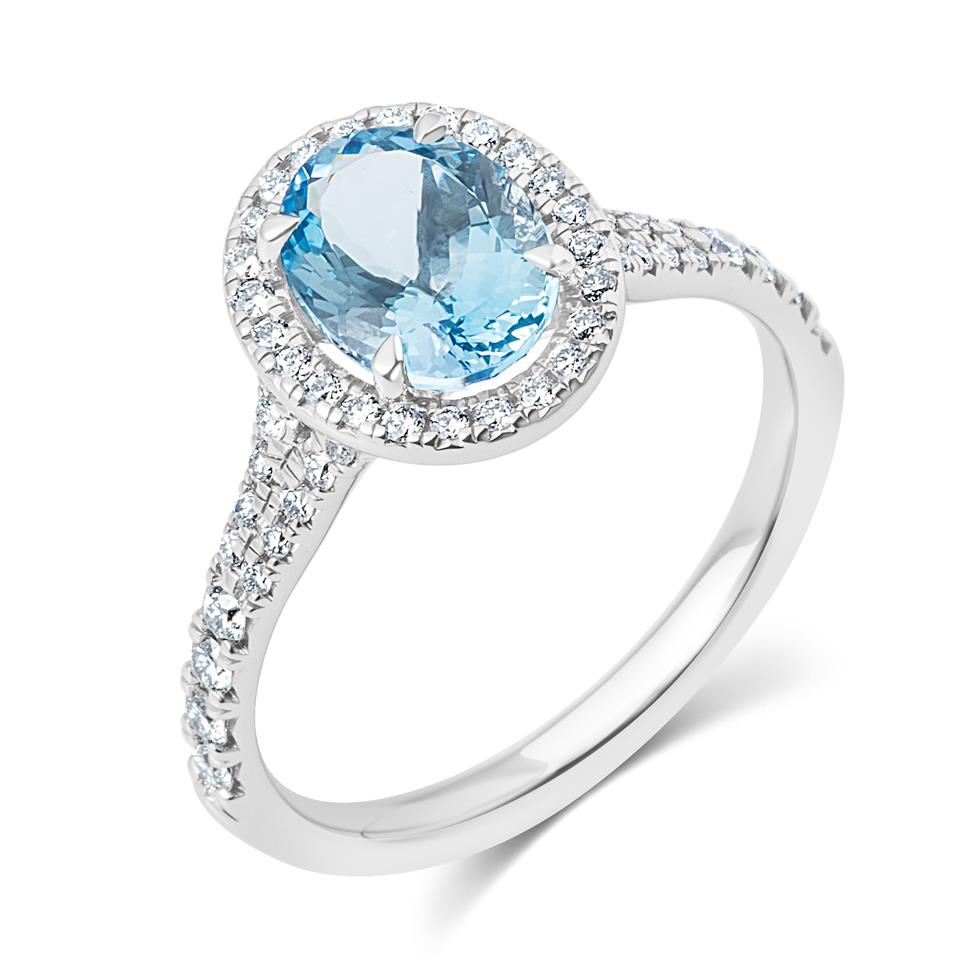 Platinum Oval Aquamarine and Diamond Halo Dress Ring Thumbnail Image 0