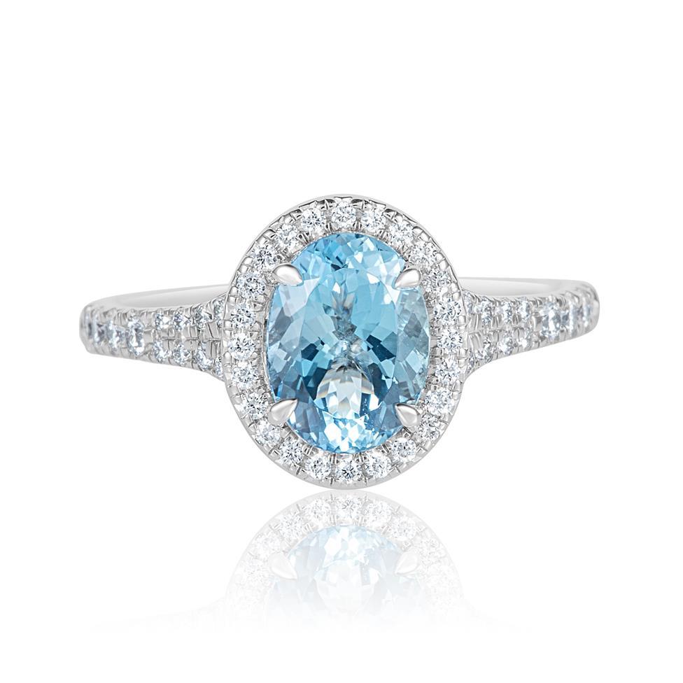 Platinum Oval Aquamarine and Diamond Halo Dress Ring Thumbnail Image 2