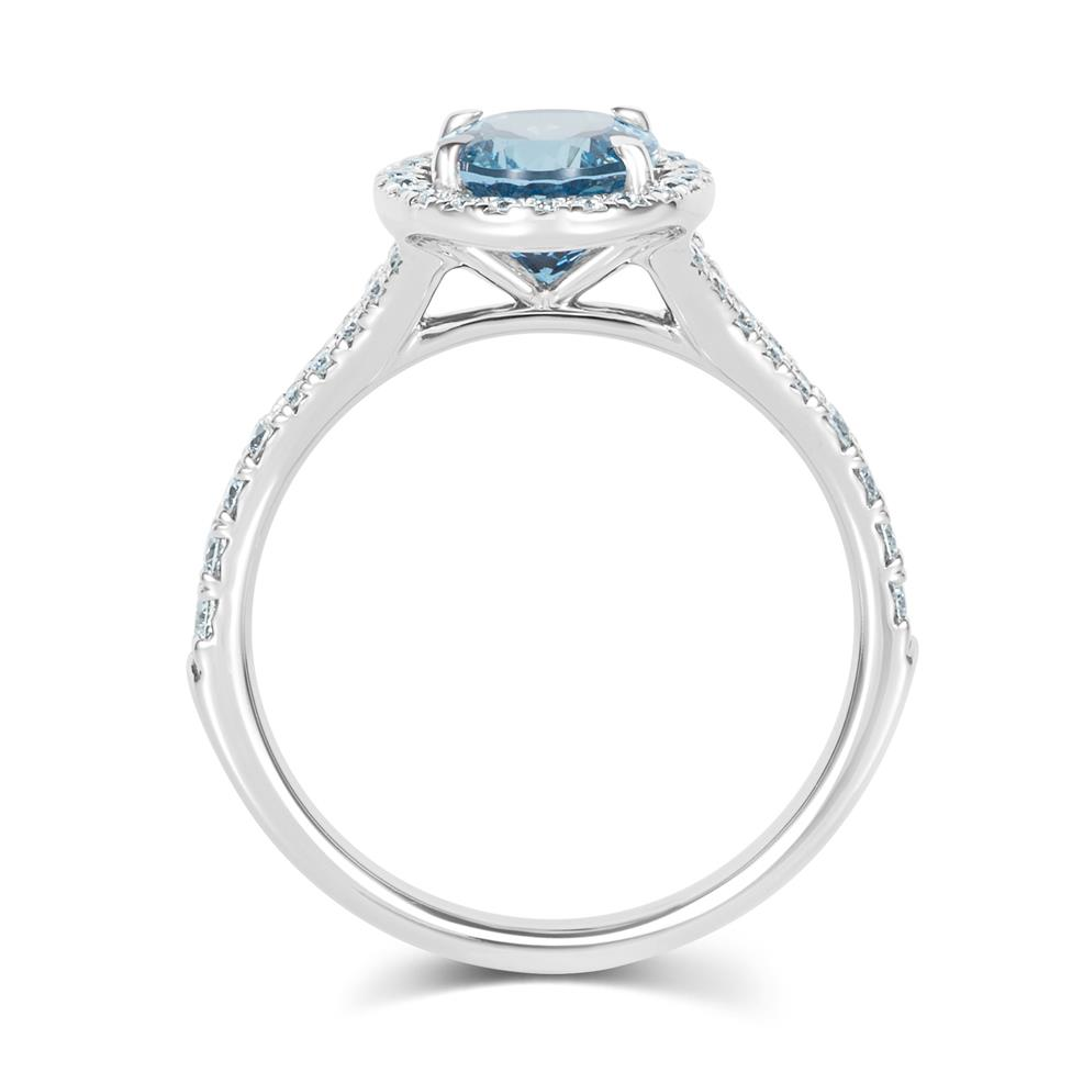 Platinum Oval Aquamarine and Diamond Halo Dress Ring Thumbnail Image 3