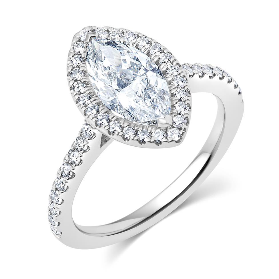 Platinum Marquise Cut Diamond Halo Engagement Ring 2.01ct Thumbnail Image 0