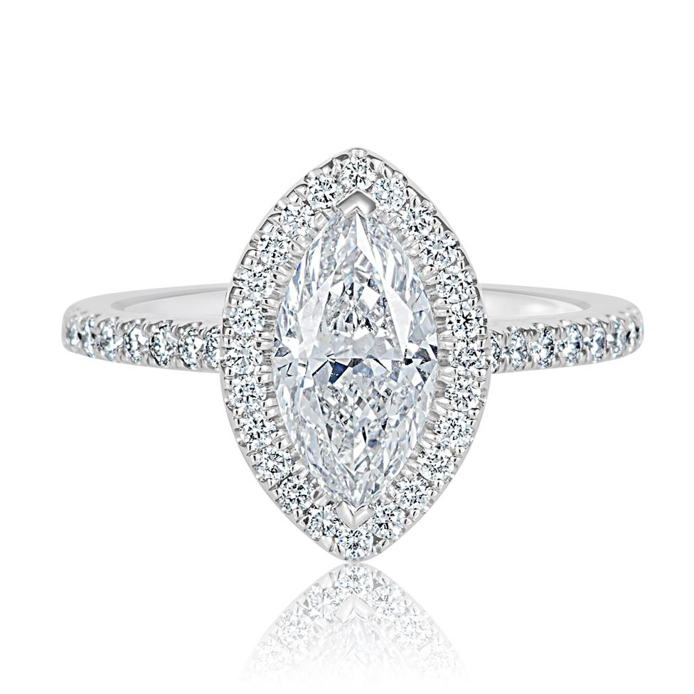 Platinum Marquise Cut Diamond Halo Engagement Ring 2.01ct Thumbnail Image 1