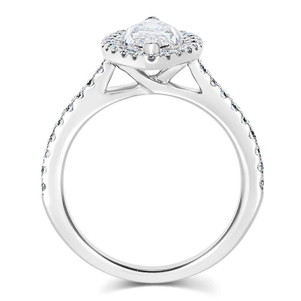 Platinum Marquise Cut Diamond Halo Engagement Ring 2.01ct Thumbnail Image 2