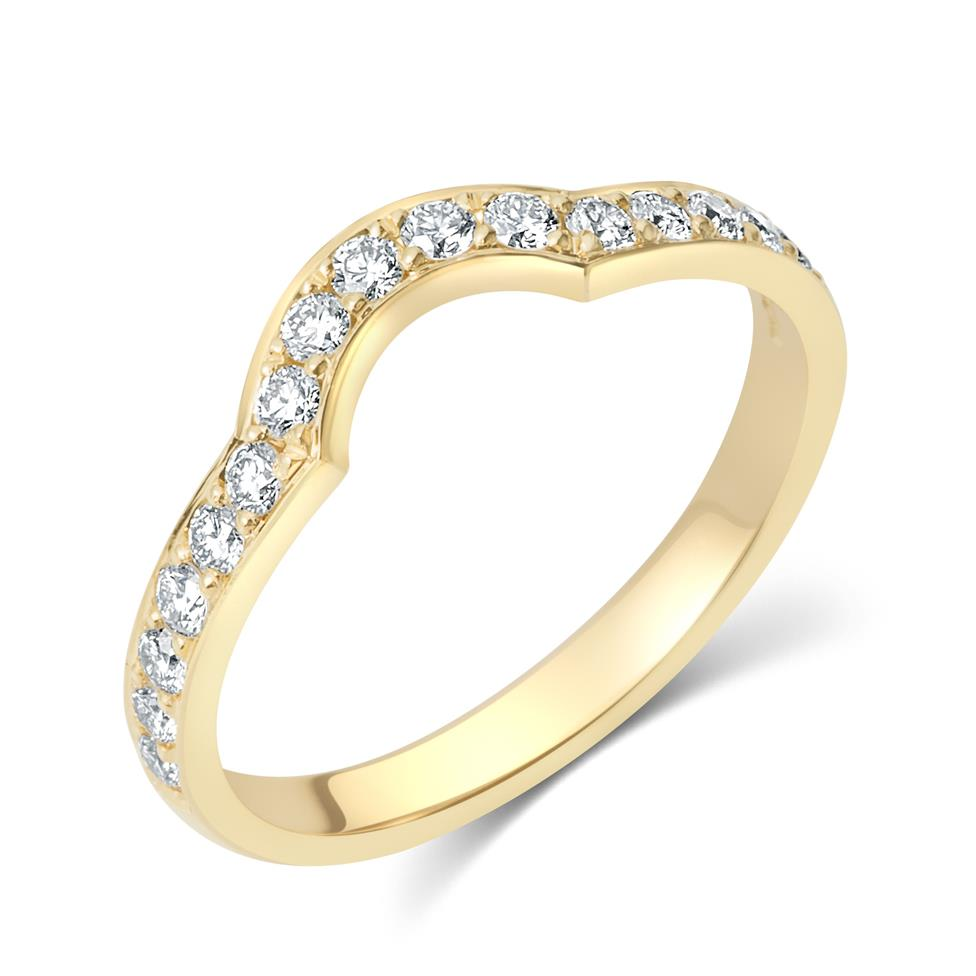 18ct Yellow Gold Pave Set Diamond Shaped Wedding Ring Thumbnail Image 0
