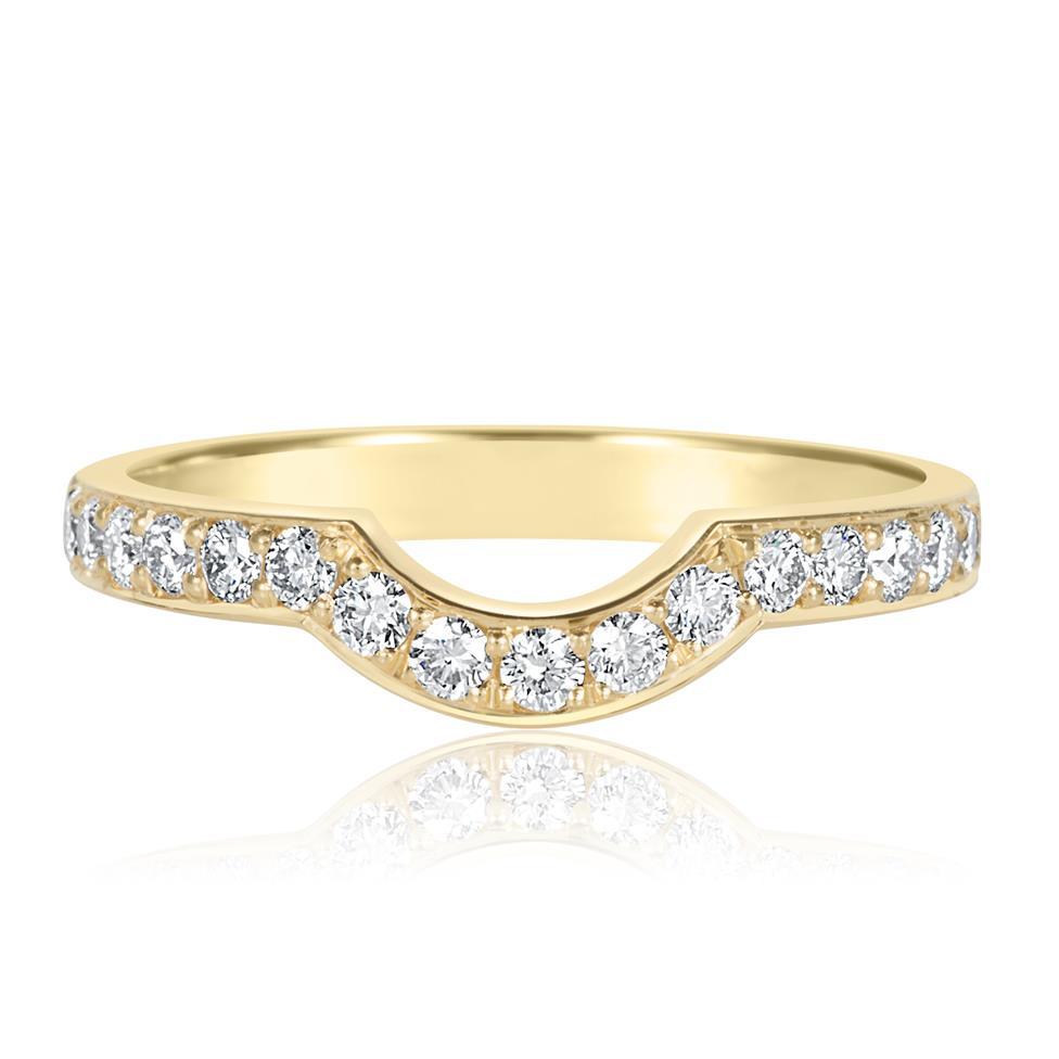18ct Yellow Gold Diamond Set Shaped Wedding Ring Thumbnail Image 1