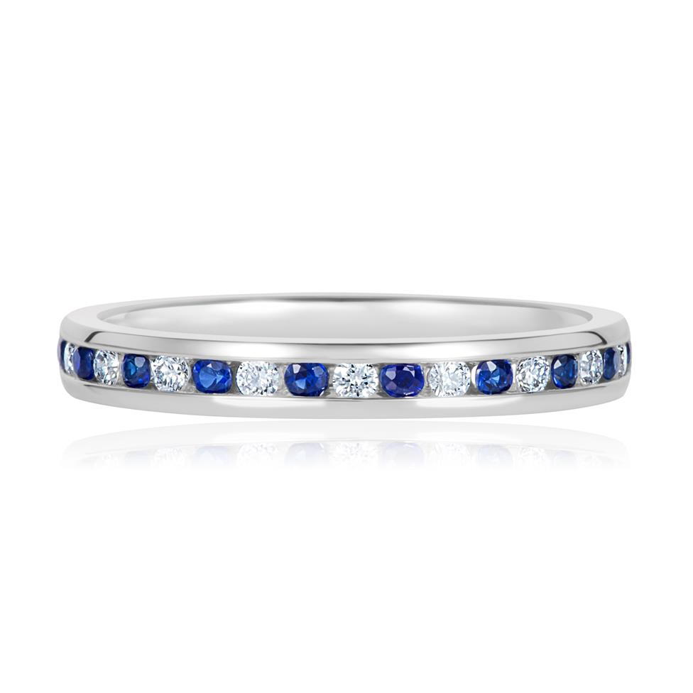 18ct White Gold Sapphire and Diamond Half Eternity Ring Thumbnail Image 1