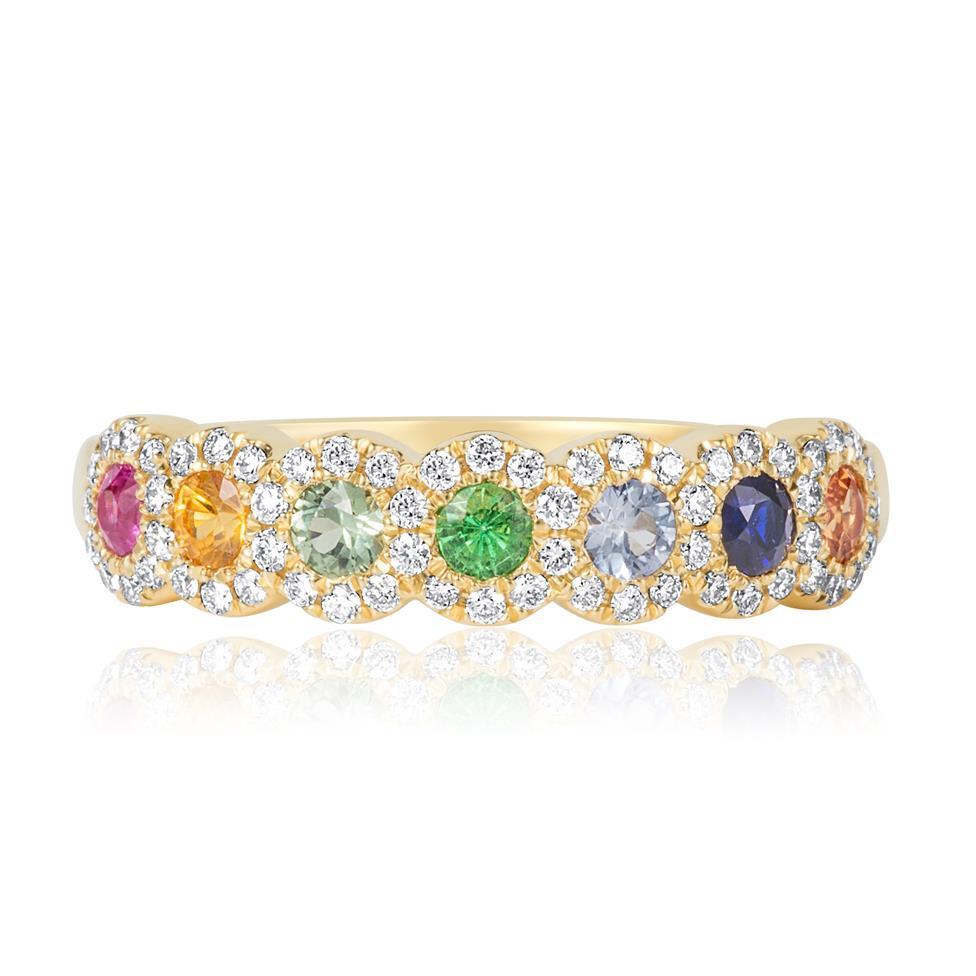 Samba 18ct Yellow Gold Halo Detail Rainbow Sapphire and Diamond Dress Ring Thumbnail Image 1