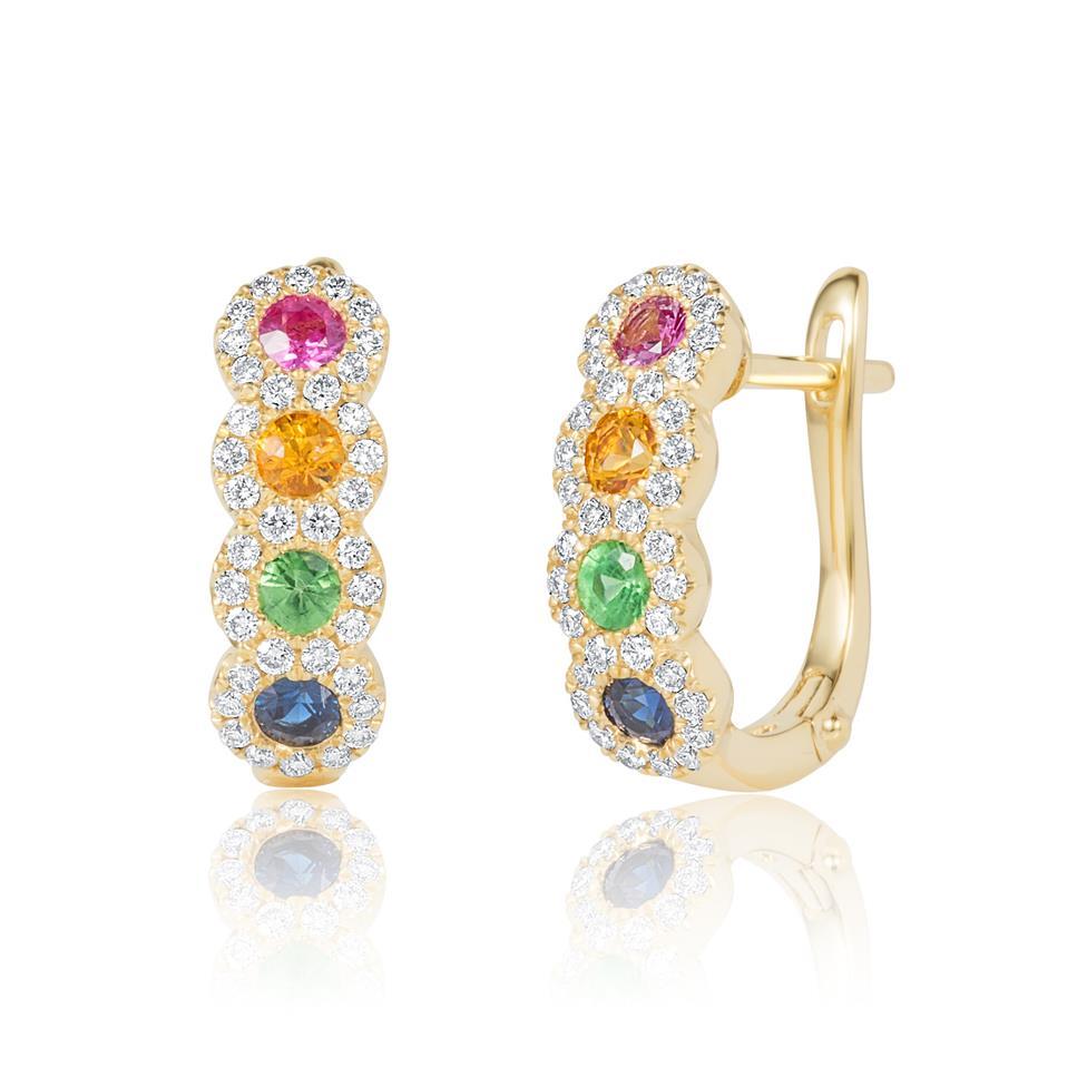Samba 18ct Yellow Gold Rainbow Sapphire and Diamond Semi Hoop Earrings Thumbnail Image 0