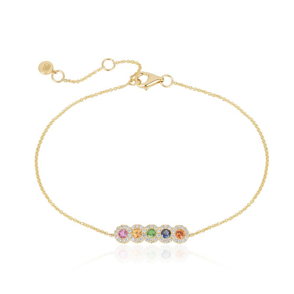 Samba 18ct Yellow Gold Rainbow Sapphire and Diamond Bracelet Thumbnail Image 0