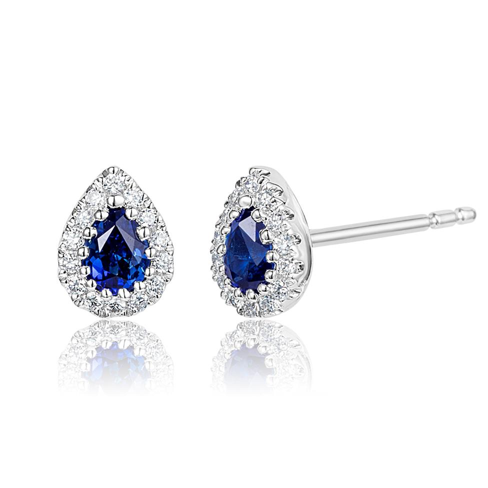 18ct White Gold Pear Shape Sapphire and Diamond Cluster Stud Earrings Thumbnail Image 0